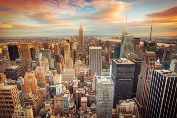 Fototapeta widok na Nowy Jork o zachodzie słońca