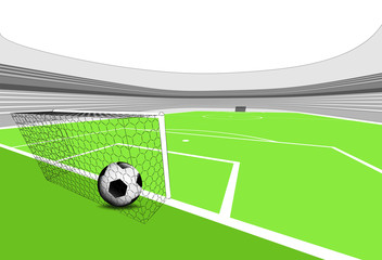football playground scene with goal score with empty stadium