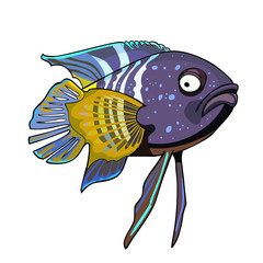 cartoon tropical fish violet-yellow