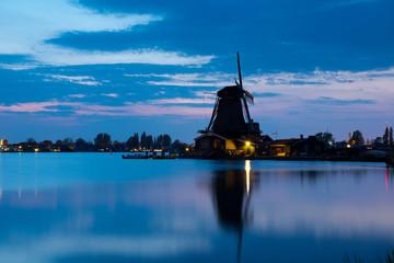 Traditional Dutch windmills in Zaanse Schans , Holland