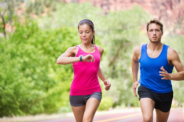 Sport - running fitness mixed couple training