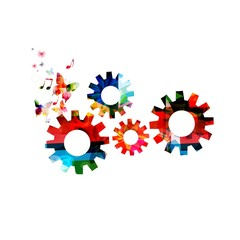Colorful vector gears background