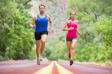 Running young people - jogging training in nature