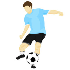 isolated blue dress footballer shooting vector