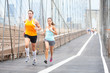 canvas print picture - Runners couple running in New York