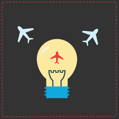 Planes and light bulb. flat icons
