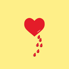 Vector heart and blood drop