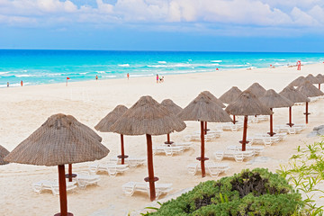 Beach on Caribbean sea in Cancun, Mexico