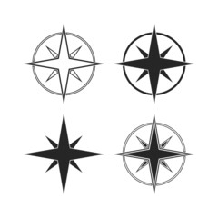 Compass icons isolated on white background