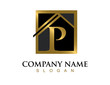 Gold letter P house logo