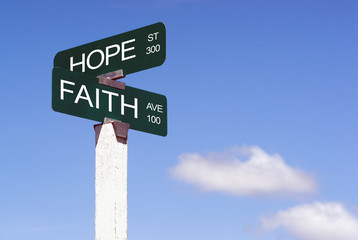 Hope Faith Emotion Idea Signs Crossraods Street Avenue Sign