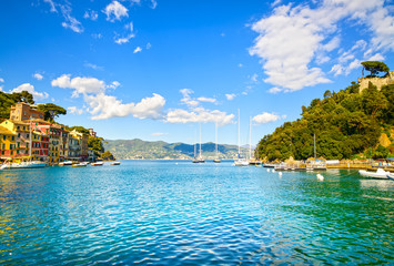 Portofino luxury village landmark, bay view. Liguria, Italy