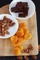 fruits and nuts with chocolad