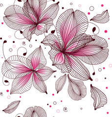 seamless floral background, vector illustration