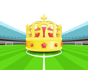 champion crown in the midfield of football stadium vector