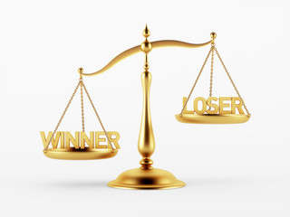 Winner and Loser Justice Scale Concept