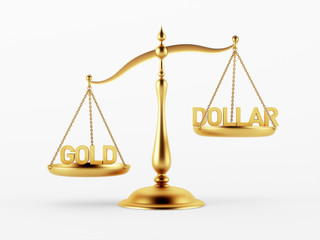 Gold and Dollar Justice Scale Concept
