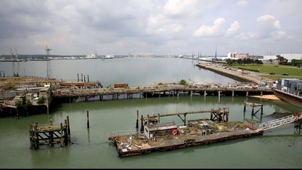 View of Southampton Docks from the isle of Wight ferry