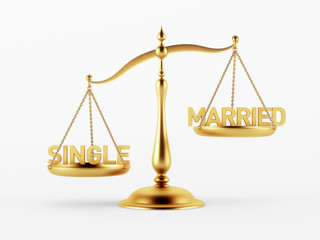 Single and Married Justice Scale Concept