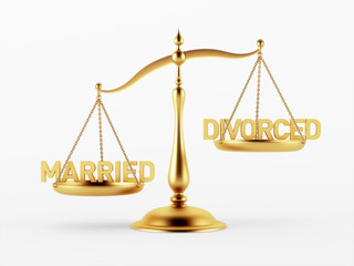 Married and Divorced Justice Scale Concept