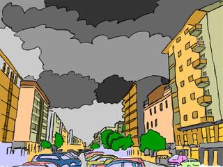 centro cittadino con nuvole nere