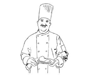 cuoco con piatto da portata su sfondo bianco