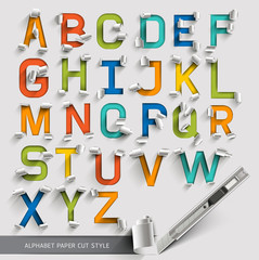 Alphabet paper cut colorful font style. Vector illustration.