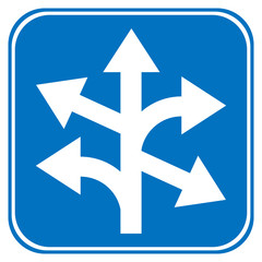 Road sign straight, left and right