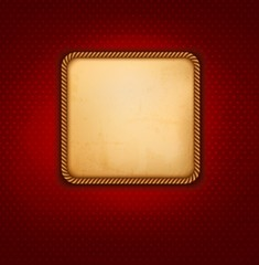 Vintage background with old paper and red wall. Vector