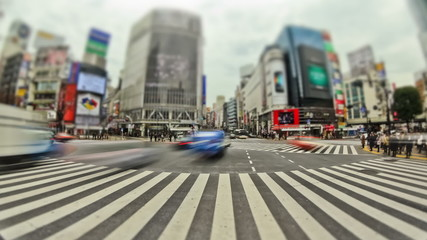 City Pedestrian Traffic Time Lapse Tokyo Shibuya Fisheye