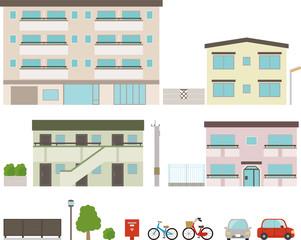 マンションとアパートの側面