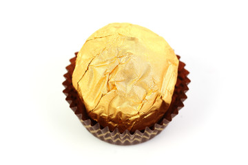 Hazelnut chocolate wrapped in golden foil
