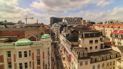 City Pedestrian Traffic Time Lapse Brussels Cityscape
