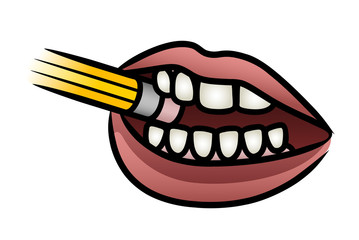 Mouth Biting A Pencil