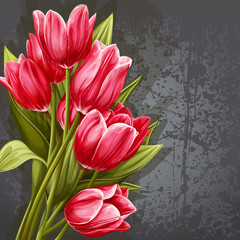 Background for your text with the image of pink tulips