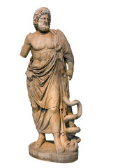 Statue of ancient Greek god of medicine and healing Asclepius