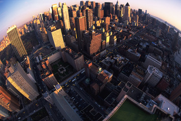 Manhattan, fish-eye lens, New York, USA
