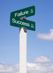Success Signs Crossroads Failure Street Avenue Sign Blue Skies