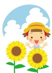 向日葵と女の子