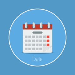"Date : Vector ""calendar"" icon flat design"