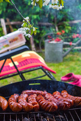 BBQ fried sausages grill