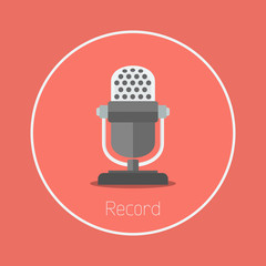 "Record : Vector ""microphone"" icon flat design"