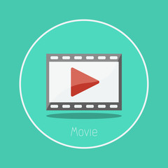 "Movie : Vector ""film strips & play button"" icon flat design"