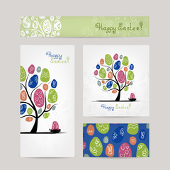 Postcards design with easter tree