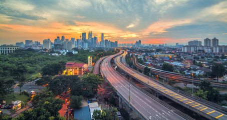 Sunset of Kuala Lumpur City of Malaysia