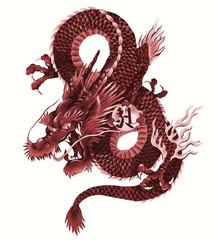 日本画調の龍