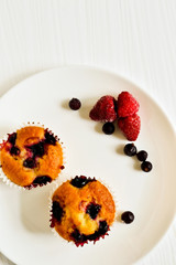 Homemade cupcakes with berries
