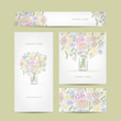 Business cards collection, floral bouquet design