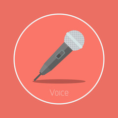 "Voice : Vector ""microphone"" icon flat design"