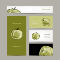 Set of business cards design, apple sketch